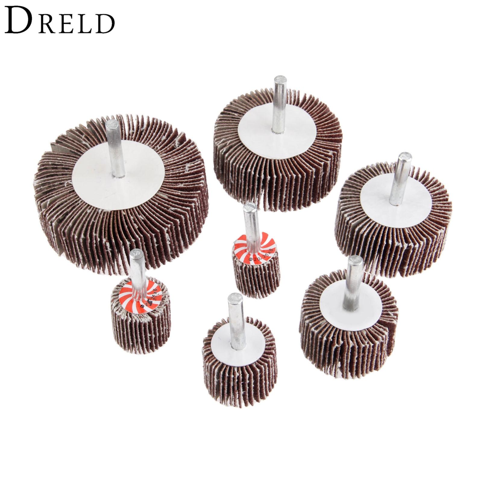 DRELD Grit 80# Grinding Sandpaper Sanding Flap Wheel Head 6mm Shank Mandrel For Rotary Drill Polishing Tool Dremel Accessories