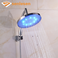 LED Light Color Changing Shower Head Chrome Finish Wall Mounted Plastic Shower Head
