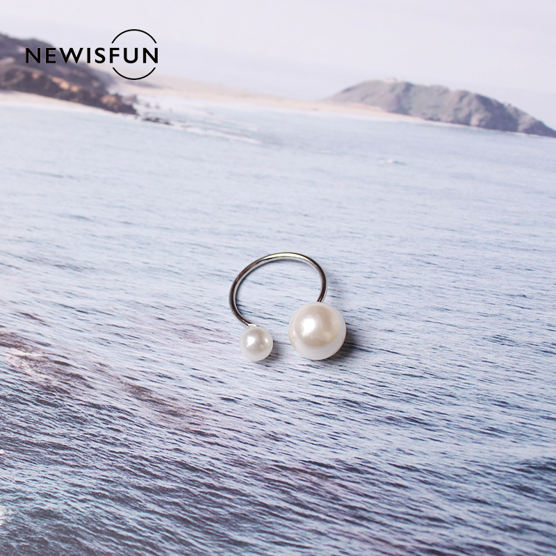 Miakoda 1pc Double Pearl Silver Color Open End Ring