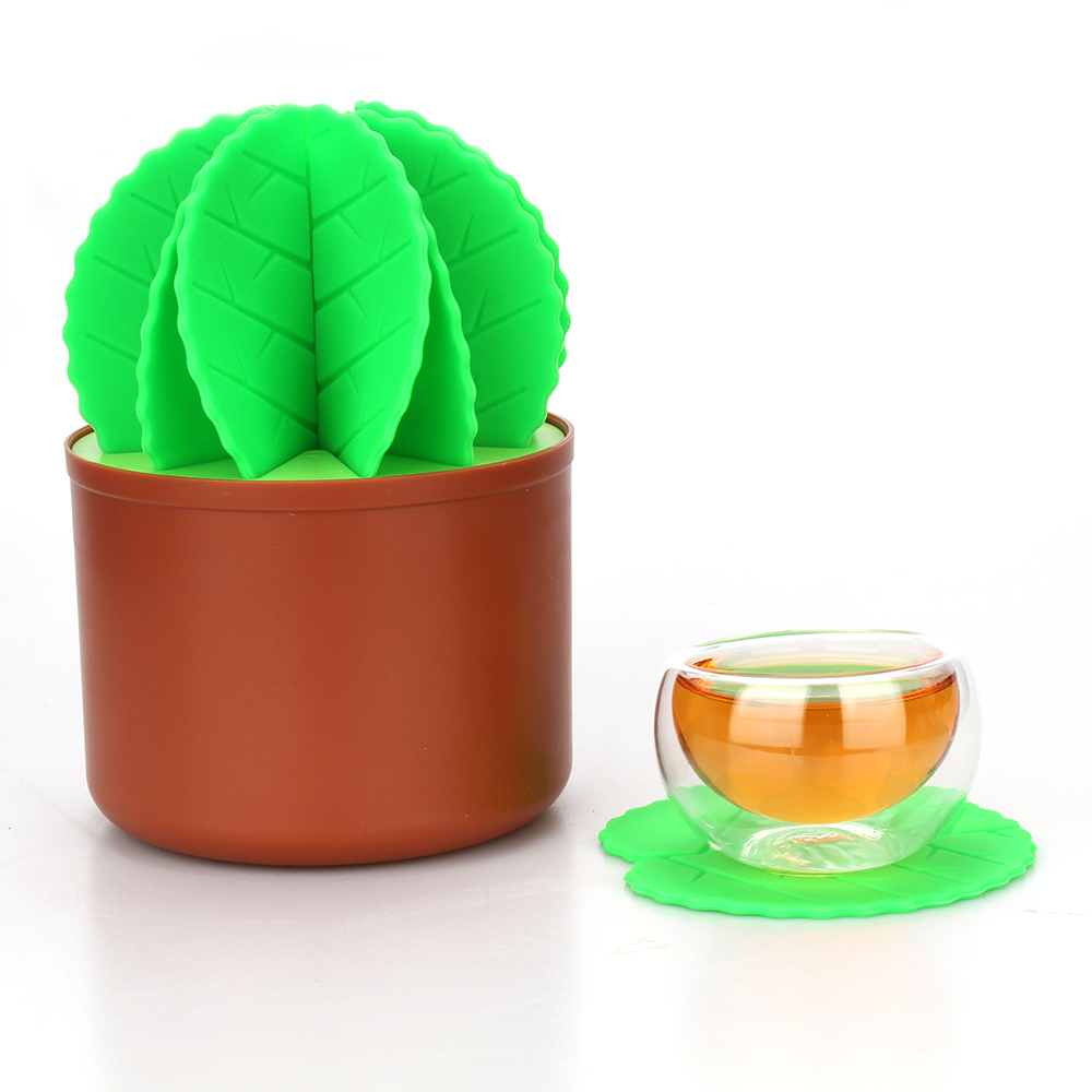 Table Decoration Cactus Bonsai Shape Silicone Coasters Set Heat Insulation Table Cup Mats Placemats Drink Coasters Cafe Bar Mat ...