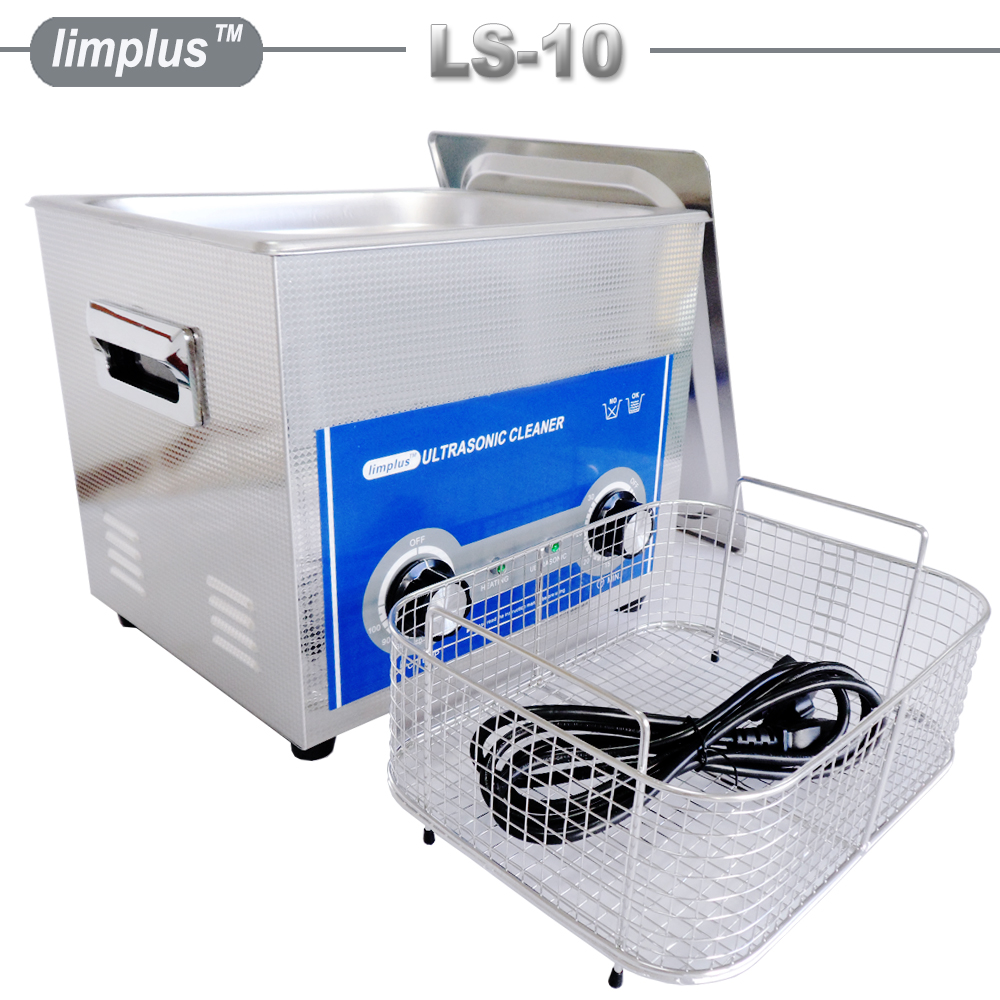 Limplus 10L 2.85Gallon Shooting Gun Pistol Rifle Case Ultrasonic Cleaner with Basket Ultrasonic Power 240W