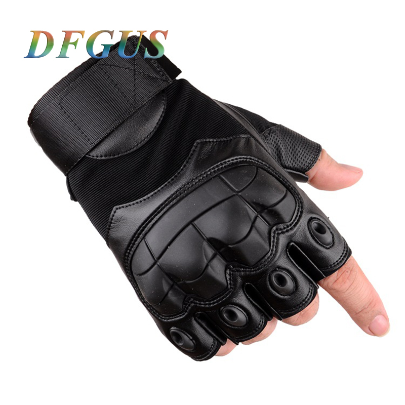 Army Men's Tactical Gloves Black Military Special Forces Outdoor Half Guantes Gym Combat Slip-resistant Cut Leather Gloves