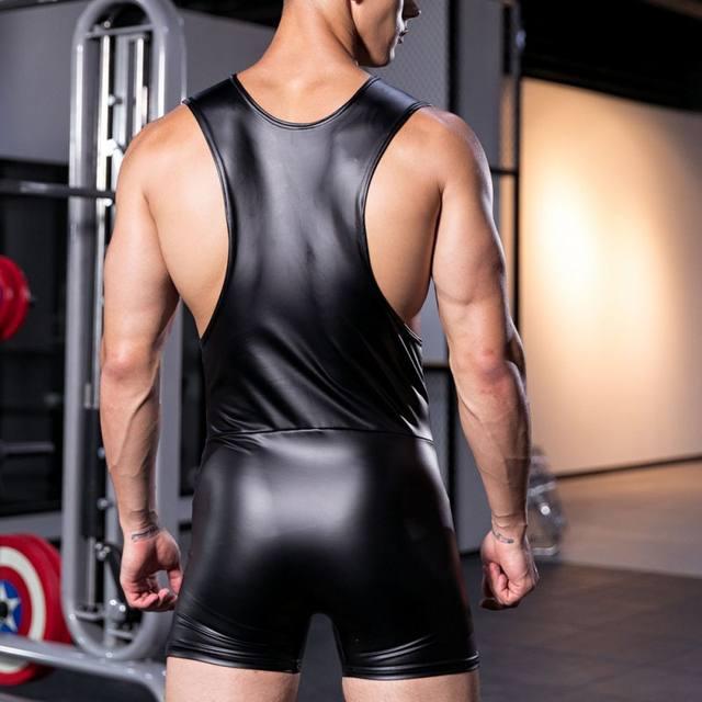 KWAN.Z fajas modeladoras corset imitation leather bodysuit men tshirt body shaper tights for men erkek korse underwear men