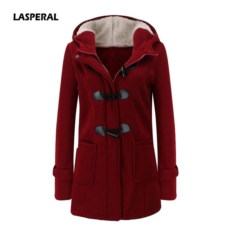 LASPERAL Women   Basic     Jacket   2018 Causal Coat Spring Autumn Women's Overcoat Zipper Horn Button Outwear   Jacket   Female Hooded Coat