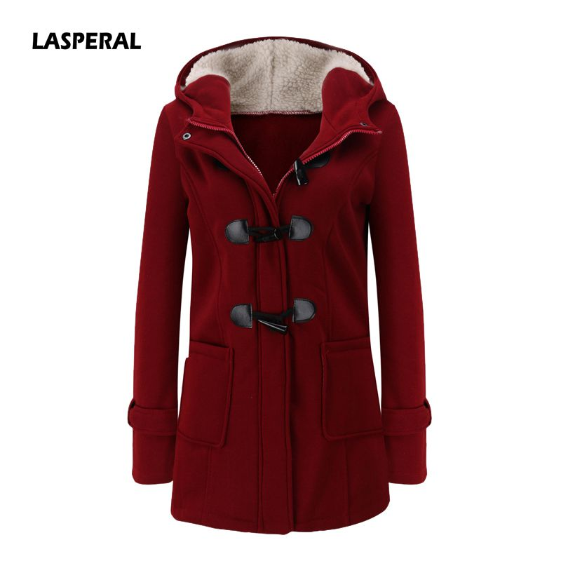 LASPERAL Women   Basic     Jacket   2019 Causal Coat Spring Autumn Women's Overcoat Zipper Horn Button Outwear   Jacket   Female Hooded Coat