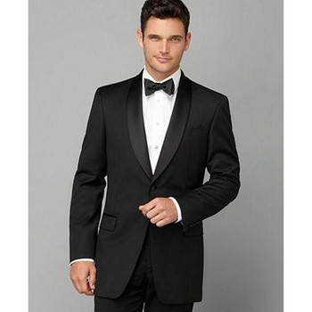 Hot Sale Custom made slim Black Groom Tuxedo Shawl Lapel mens suit terno masculino 2017 Men Wedding Suits ( jacket+Pants+tie)