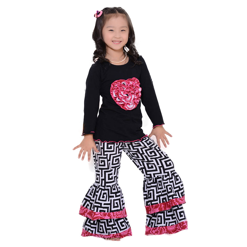 Aliexpress.com  Buy Full Sleeve Valentine Girls Clothes Set Kids Clothes Black Shirt Ruffle ...