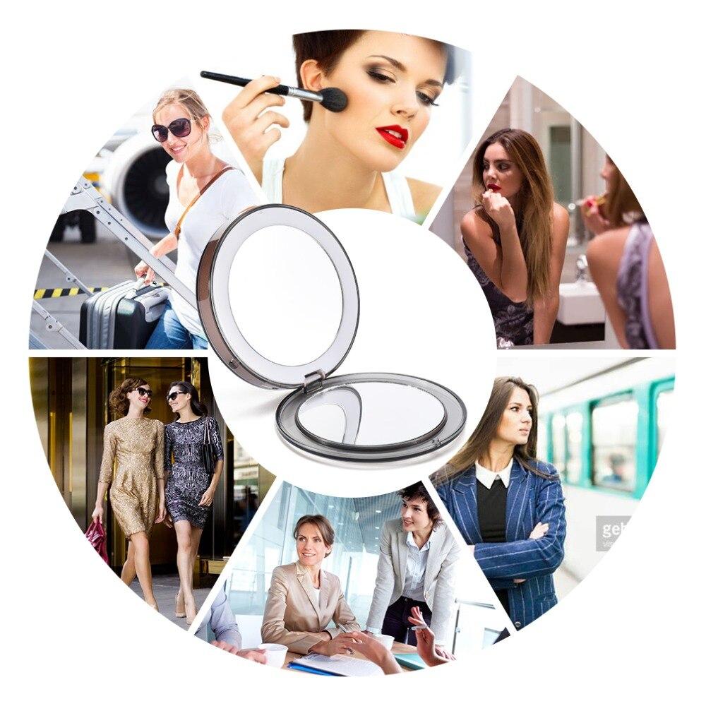 Travel Mirror LED  Makeup Mirror Folding Pocket Mirror 1x3x Magnification Adjustable Portable Travel Mirror Inductive Rechargeable Portable mirror (2)