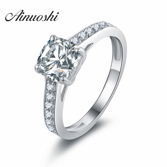 Ainuosh Luxury 1 5 Carat Cushion Cut Ring Sona Women 925 Sterling Silver Engagement Rings Wedding