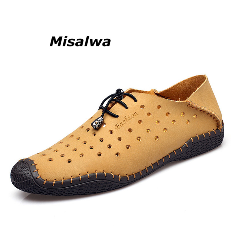 Misalwa 2018 Summer Men Casual Boat Shoes Fashion Genuine Leather Brown Lace up Driving Shoes Moccasins Hollow Out Men Drop Ship