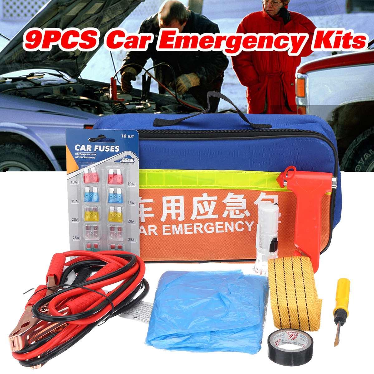 9 pièces FW-863 trousse de premiers secours voiture Kits de secours Portable voyage Kits de plein air corde de remorquage avec marteau de sécurité sac de rangement pour la maison/voiture