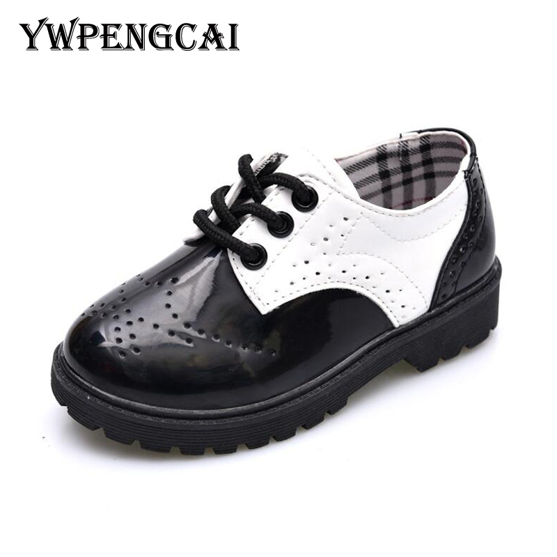 Bright Shiny Kids Patent Leather Shoes Spring Autumn Party Boys Oxford Shoes All Sizes 21-37 Boys Casual Leather Shoes 6LY0437