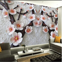 beibehang Modern art painting high quality mural wallpaper 3d living room TV backdrop relief plum photo wall paper