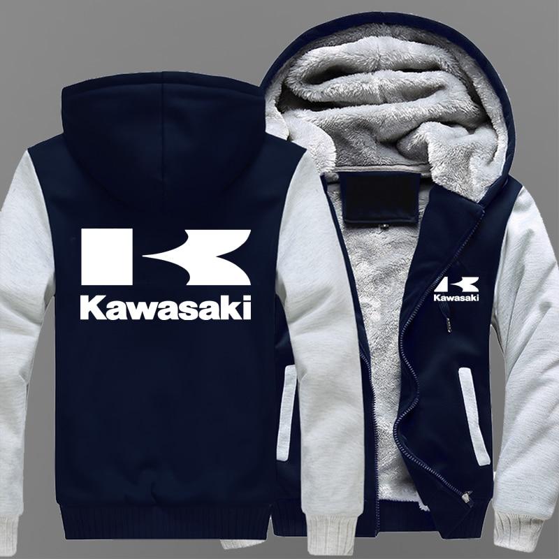 Winter Coat Kawasaki Moto Logo Men's Casual Thick Warm