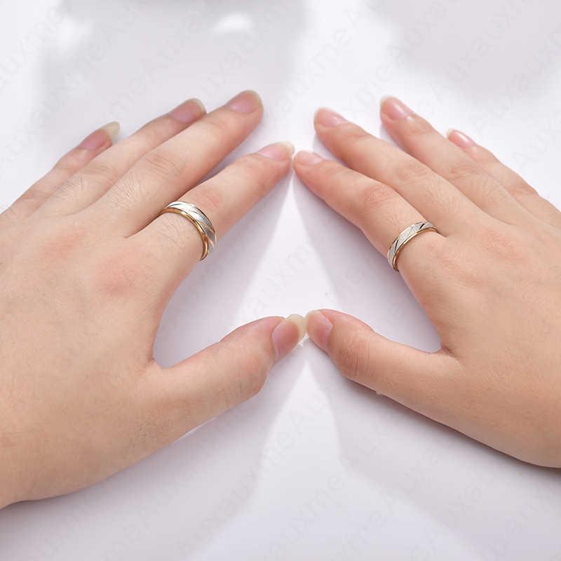 Auxauxme ไทเทเนียมแกะสลักชื่อคนรักคู่แหวน GOLD WAVE รูปแบบงานแต่งงานแหวนผู้หญิงผู้ชายเครื่องประดับหมั้น