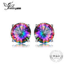 Natural Mystic Rainbow Topaz Earrings Stud For Girls Genuine Pure Solid 925 Sterling Silver Round Brand Fashion Hot Wholesale