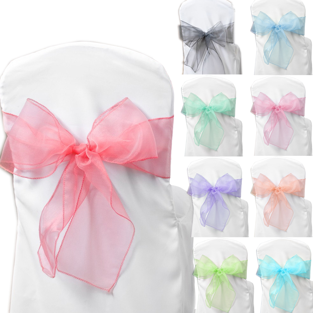 Chair sashes styles - 200pcs 24 Colors Option Organza Chair Cover Sashes Organza Wedding Party Chair Decorations You