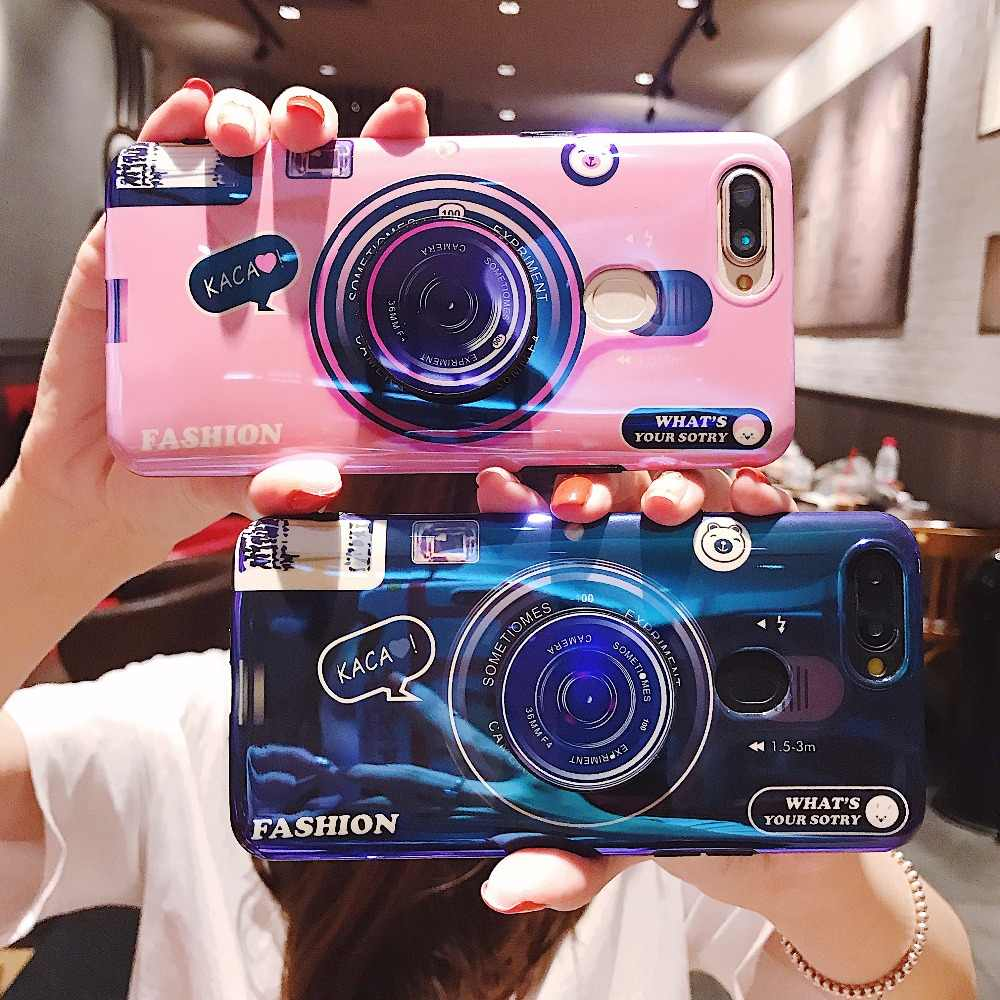 Funda soporte para cámara 3D para OPPO R11S R11 R9S R9 F3 Plus Find X R17 R15 AX7 Pro RENO carcasa trasera Realme 2 3 U1