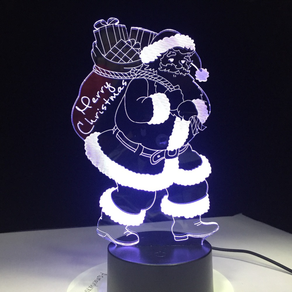 Santa Claus 3D Lamp 7 Color LED Night Light for Kids Gift USB Touch Table Lamp as Christmas Holiday Decorative Lamp santa claus holiday printed pillow case