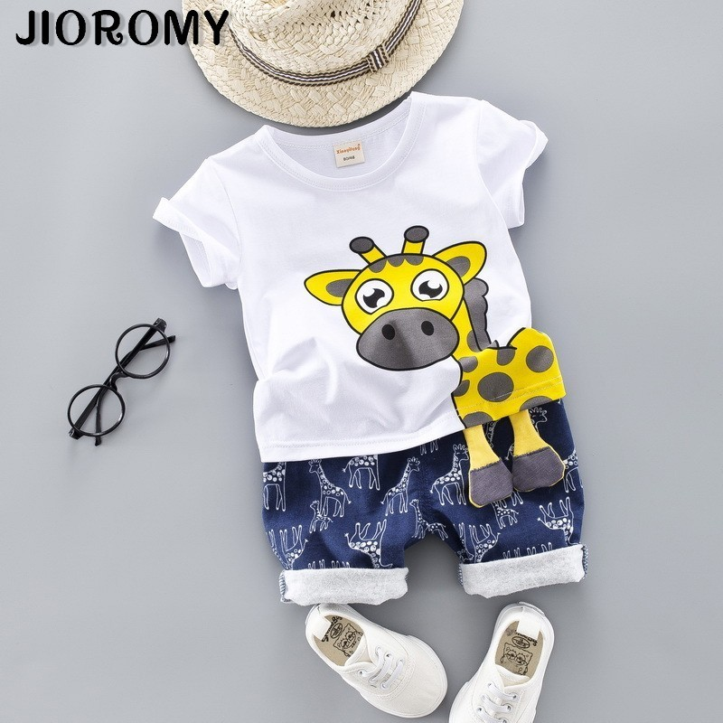 JIOROMY 2019 Summer New Style Boys Girls Suit Summer Cotton Giraffe Children's Baby Two-Piece Set Fashion Cartoon Kids Clothing