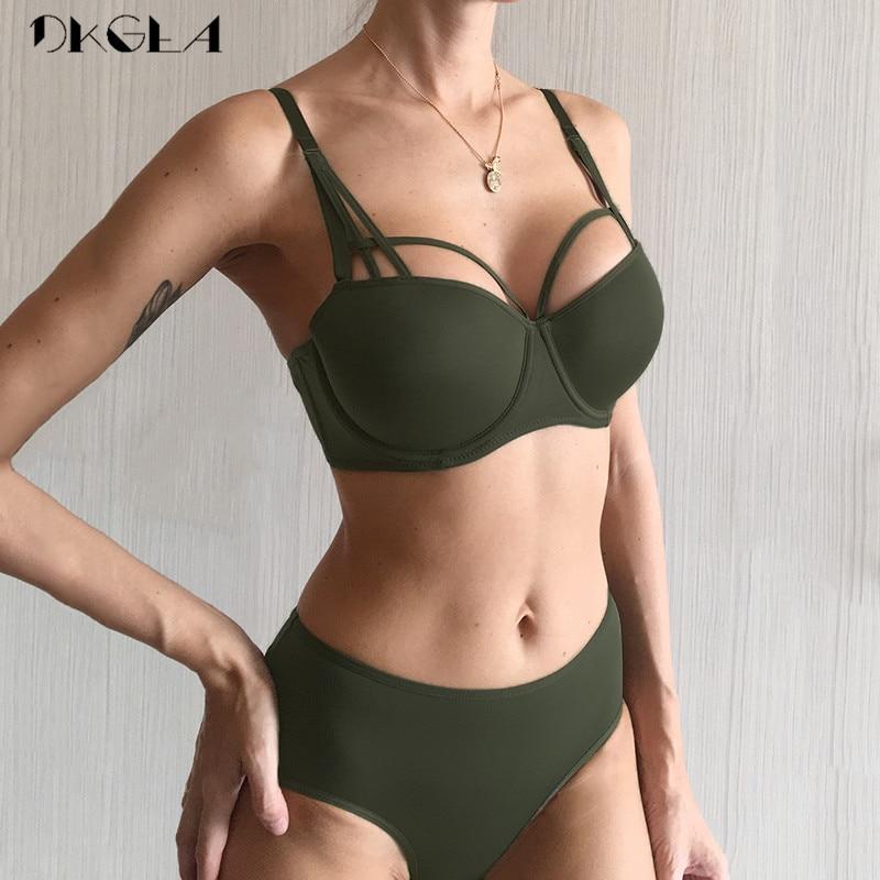 2019 New Hot Sexy Underwear Set Green Cotton Brassiere Push Up Bra Sets 3/4 Cup Black Women Lingerie Set Lace Bras Deep V Gather