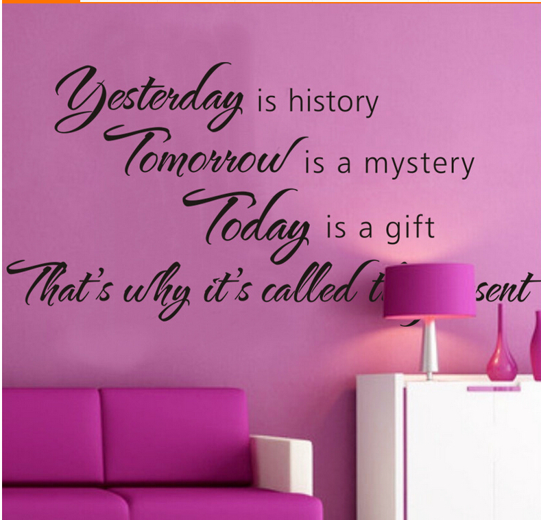 English quote carving yesterday is history wall