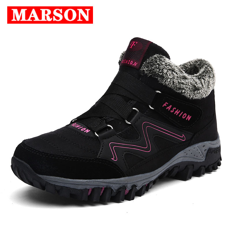 MARSON Men Boots Couple Winter With Plush Boot Warm Snow Casual Women Work Shoes Footwear Mens Ankle Shoe