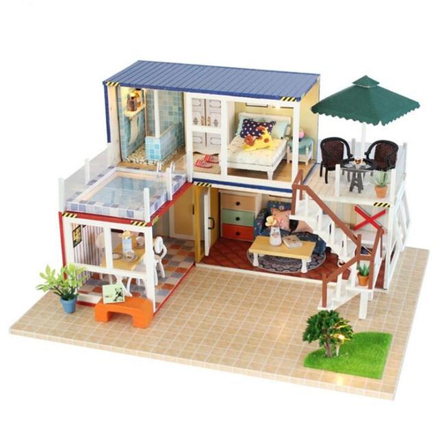 DIY Model Doll Houses Assembling Wood Doll House Toy 3D