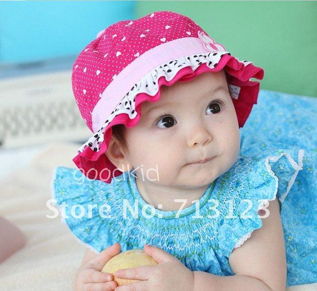 Baby Girls Children Kids Cute Flower Sun Hat   Infant Cotton Cap Hats 5  Colors Choose soft cotton kids topee baby hats 6pcs lot 84f6b765f008
