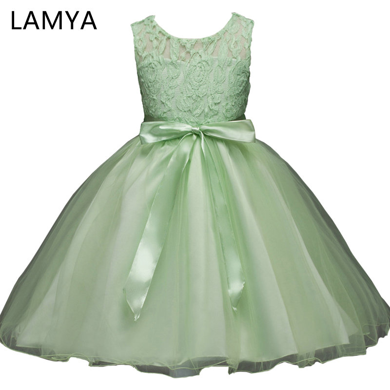 LAMYA Flowers Girls Dresses Girls Bow Evening Gowns Ball Gowns First Communion Dresses for Girls Kids Prom Dresses