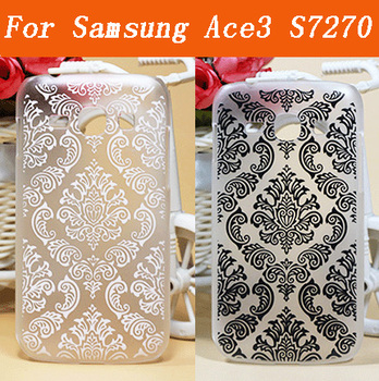 Fashion Black&White Vintage Flower Painting Phone Back Case For Samsung Galaxy ACE3 ACE 3 III S7270 7270 S7272 7272 Phone Cover image
