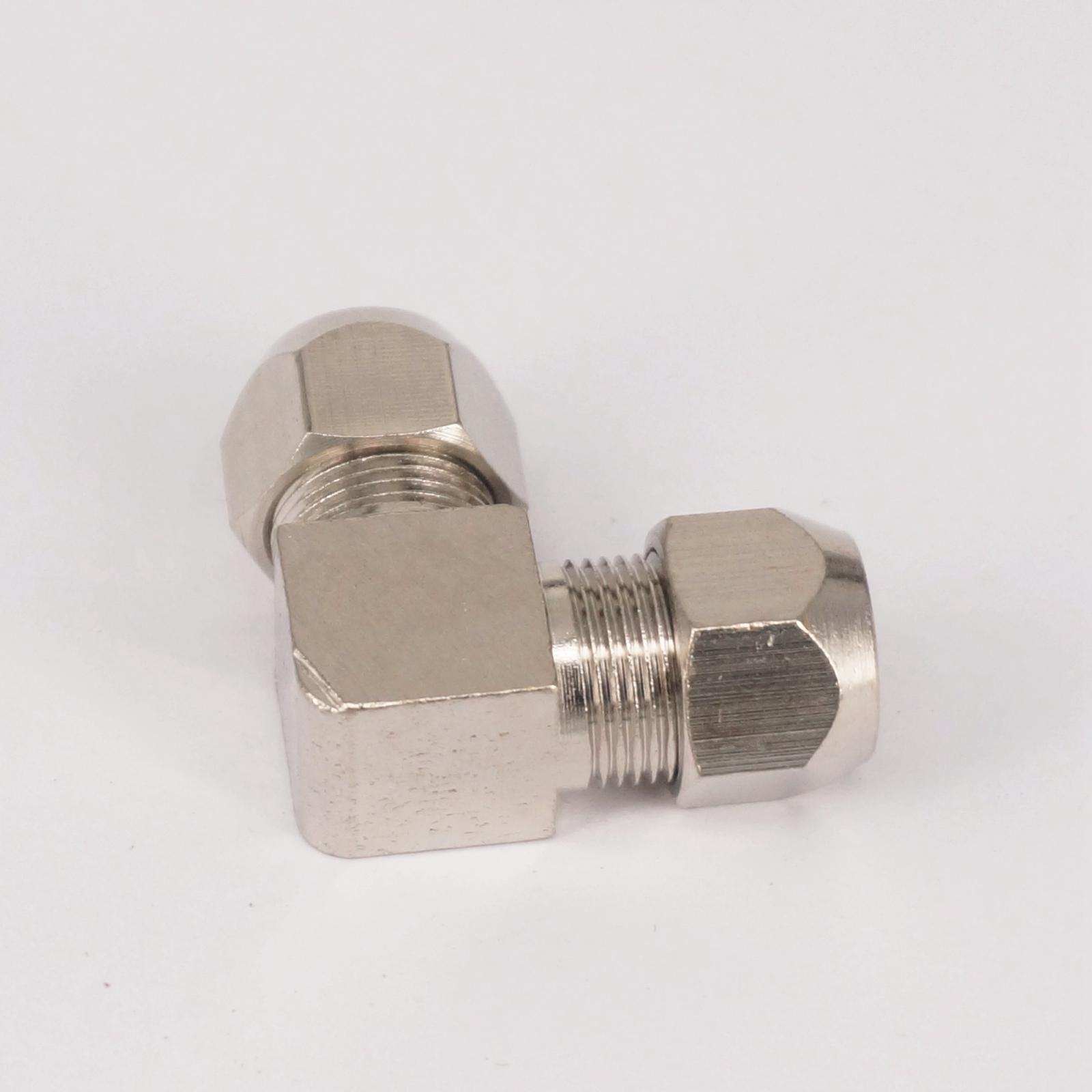 2 pcs Siku Kuningan Cocok 10mm OD Tabung Coupler Adapter Konektor Kompresi pas Untuk Tubing