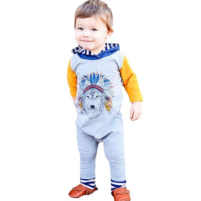 Для маленьких девочек Комбинезоны для малышек одежда с длинным рукавом Новинка 2017 года Осень Мультфильм Волк для новорожденных мальчиков к... ...