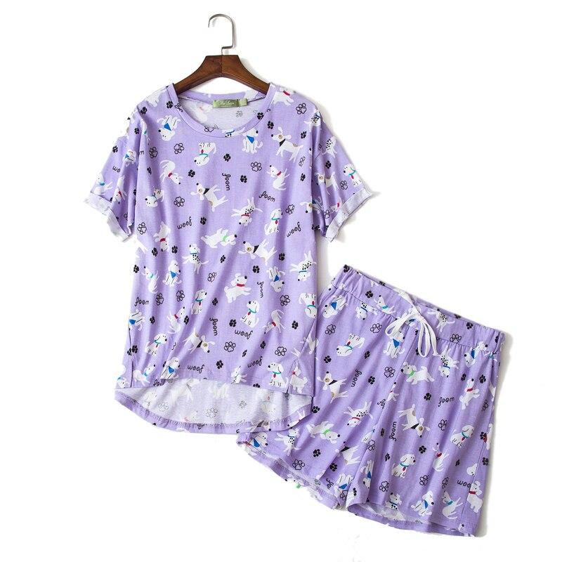 Plus Size 2020 Summer Cute Shorts Pajamas Sets Women 100% Cotton Cartoon Ladies Pyjamas Casual Shorts Sleepwear Women Pijamas