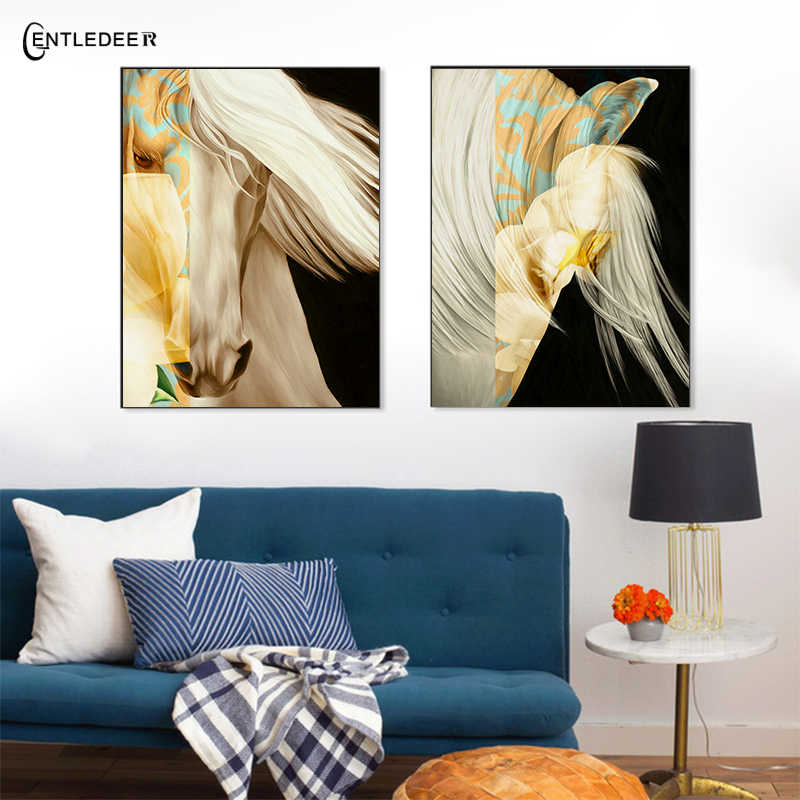 Color Set Horse Painting Color Unique Canvas Painting Abstract Poster Metope Living Room Fashion Home Decoration Art No Frame