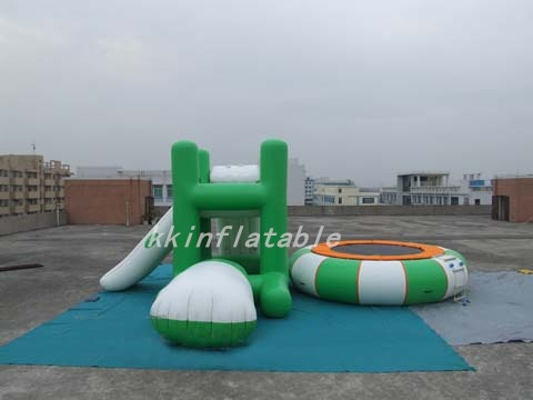 2017 New Inflatable Water Trampoline Combo With Launch And Slide For Sale