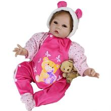 New 55cm Reborn Baby Soft Vinyl Silicone Doll Toy with Cartoon Bear Print Romper