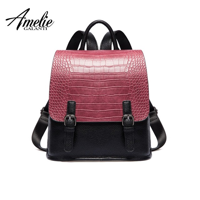 AMELIE GALANTI Women's Fashion Casual Backpack with Flap Crocodile PU Leather Simply Design Large School Bag with Zipper