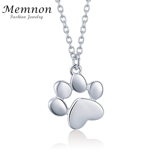c36d84457cd Memnon 100% 925 Sterling Silver Cute Animal Footprints Dog Cat Footprints Necklaces  Pendant for Women necklace fashion Jewelry
