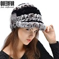 Genuine Rex Rabbit Fur Hat grosso de lã de malha gorro de pele de coelho inverno quente mulheres chapéu de pele de coelho novo 2015 Hot Sale