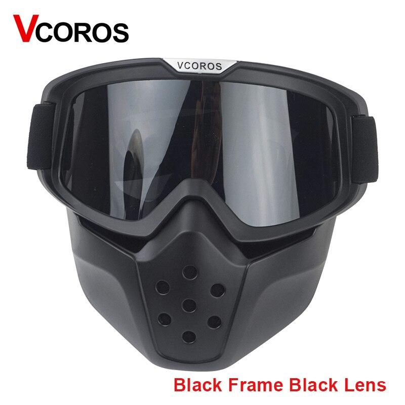 387002b7c72e3 VCOROS máscara capacete da motocicleta do vintage óculos Removível e boca  tipo de filtro máscara de rosto Aberto capacete de Scooter de Skate Ski  Masque em ...