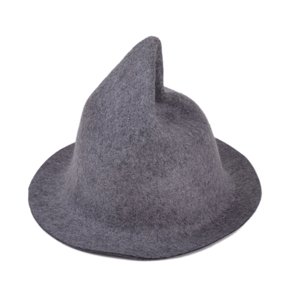 Wool women hat witch design fedora winter caps for girl 4 colors Supply Free Shipping