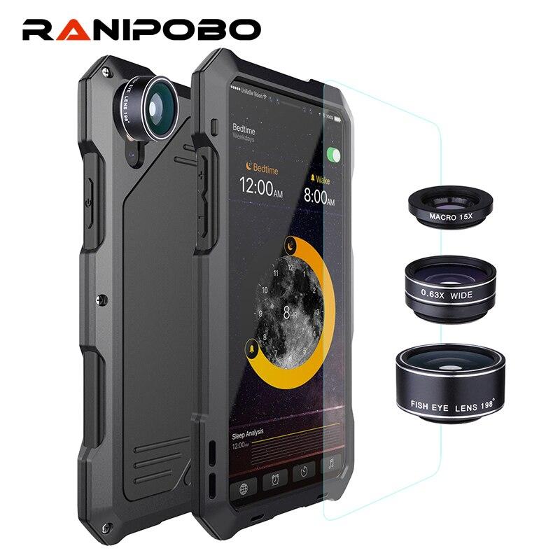 3 capas híbrido a prueba de golpes para el iPhone 7 6 6 s más 8 más X completo protege la caja con 3 en 1 15X Macro + lente de cristal