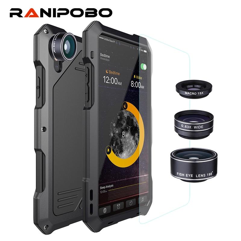 3-schichten Hybrid Stoßfest Phone Cases für iPhone 7 6 6 S Plus 8 Plus X Voll Schützen Fall mit 3 in 1 15X Makro-objektiv + Glas