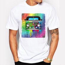 182a4b767 New fashion men's Hippie Van Dripping Rainbow Paint neon color printed t- shirt male short sleeve casual tee funny cool tops