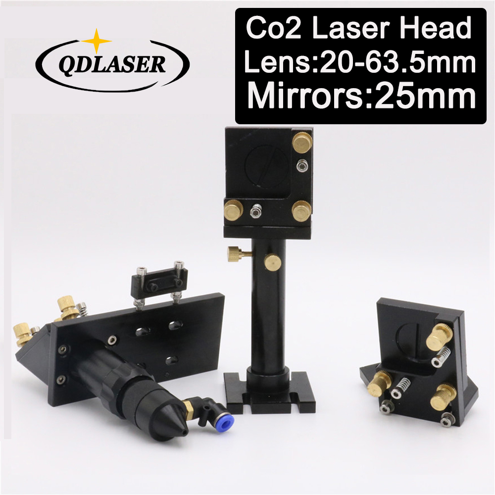 Co2 Laser Cut Head and Laser Mirror Mounts for Focus Lens 20-63.5mm and Mirror 25mm co2 laser head mirror and lens integrative mount laser cutting engraving