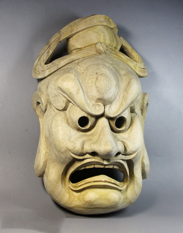 Wall decoration Elm Open mouth budha sculpture Japanese traditional mask budas statues