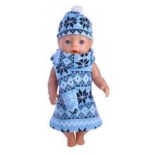 Söt blå tröja i tre delar för 18-tums amerikansk tjejduk eller zapf 43 cm, vilket ger barnen den bästa födelsedagspresenten