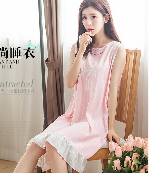 ecbe7e520d 2017 New summer women nightgown cotton striped sleeveless sleep dresses  ladies nightshirts blue pink girls nightdress A712 -in Nightgowns   Sleepshirts  from ...
