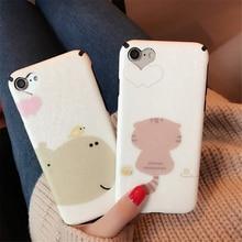 Cartoon loving heart hippopotamus Case For iphone 7 case 6 6S PLus Cute Cat and Hippo figure Phone Cases Back Cover Coque Capa